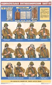 1234. Военный ретро плакат: Индивидуальный противохимический пакет (ИПП)