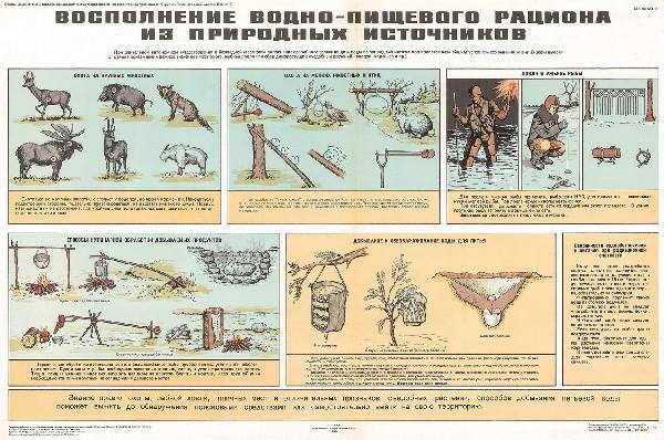 1248. Военный ретро плакат: Восполнение водно-пищевого рациона из природных источников