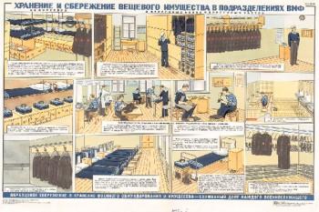 1250. Военный ретро плакат: Хранение и сбережение вещевого имущества в подразделениях ВМФ