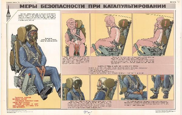 1255. Военный ретро плакат: Меры безопасности при катапультировании