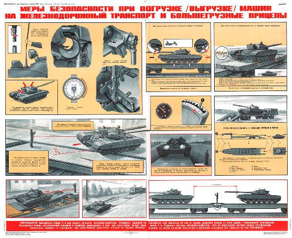1265. Военный ретро плакат: Меры безопасности при погрузке/выгрузке машин на железнодорожный транспорт и большегрузные прицепы