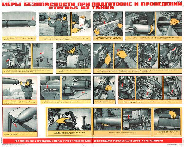 1266. Военный ретро плакат: Меры безопасности при подготовке и проведения стрельб из танка