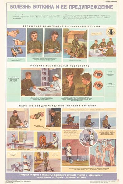 1278. Военный ретро плакат: Болезнь Боткина и ее предупреждение