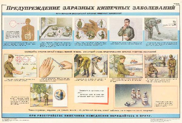 1279. Военный ретро плакат: Предупреждение заразных кишечных заболеваний