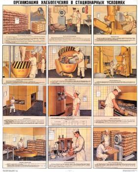1286. Военный ретро плакат: Организация хлебопечения в стационарных условиях