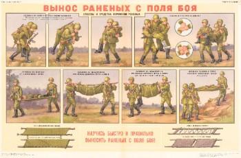 1288. Военный ретро плакат: Вынос раненых с поля боя