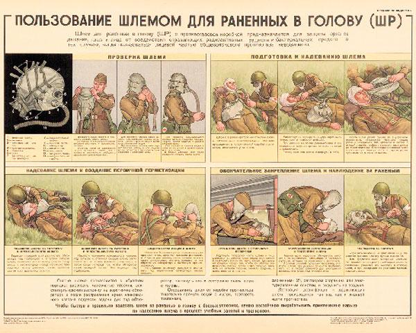 1289. Военный ретро плакат: Пользование шлемом для раненых в голову (ШР)
