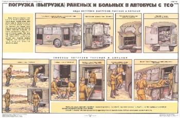 1291. Военный ретро плакат: Погрузка (выгрузка) раненых и больных в автобусы с ТСО