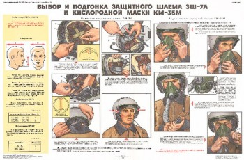 1294. Военный ретро плакат: Выбор и подгонка защитного шлема 3Ш-7А и кислородной маски КМ-35М