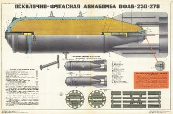 1329. Военный ретро плакат: Осколочно фугасная авиабомба ОФАБ-250-270