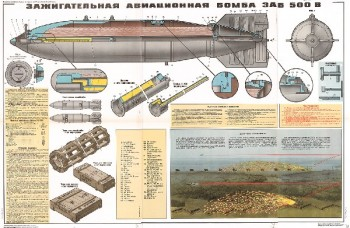 1336. Военный ретро плакат: Зажигательная авиационная бомба ЗАБ-500 В