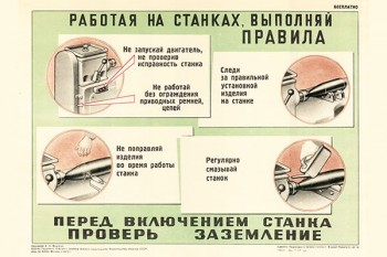 1393. Военный ретро плакат: Перед включением станка проверь заземление