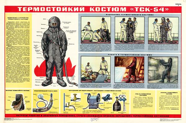 """1409. Военный ретро плакат: Термостойкий костюм """"ТСК-54"""""""