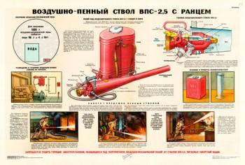 1410 (2). Военный ретро плакат: Воздушно-пенный ствол ВПС-2,5 с ранцем