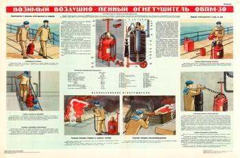 1410 Военный ретро плакат: Возимый воздушно-пенный огнетушитель ОВПМ-30
