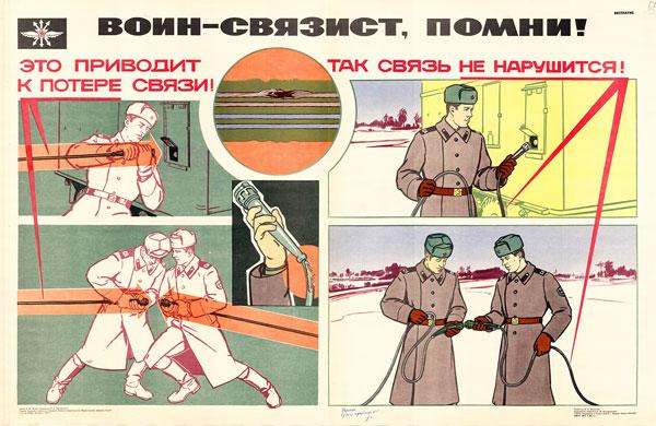 1415. Военный ретро плакат: Воин - связист, помни!