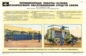 1423. Военный ретро плакат: Регламентные работы - основа технического обслуживания средств связи (Регламент №3)