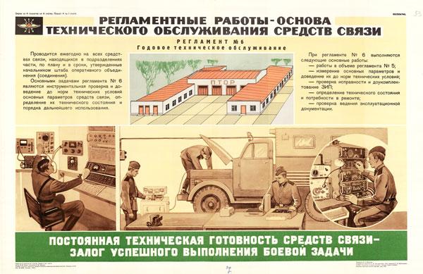 1424. Военный ретро плакат: Регламентные работы - основа технического обслуживания средств связи (Регламент №6)