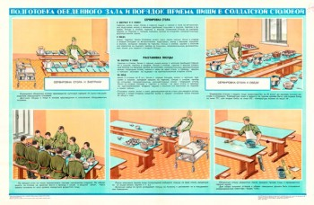 1430. Военный ретро плакат: Подготовка обеденного за и порядок приема пищи в солдатской столовой
