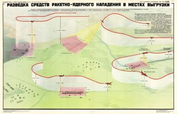 1433. Военный ретро плакат: Разведка средств ракетно-ядерного нападения в местах выгрузки