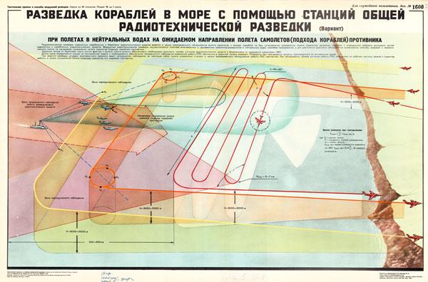 1445. Военный ретро плакат: Разведка кораблей в море с помощью станций общей радиотехнической разведки