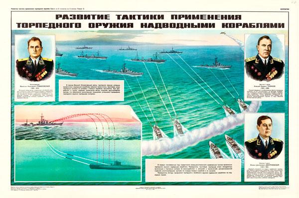 1621. Советский плакат: Развитие тактики применения торпедного оружия надводными кораблями