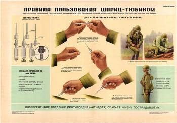 0004. Военный ретро плакат: Правила пользования шприц-тюбиком