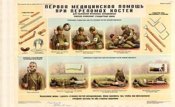 0007. Военный ретро плакат: Первая медицинская помощь при переломе костей
