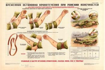 0010. Военный ретро плакат: Временная остановка кровотечения при ранении конечностей