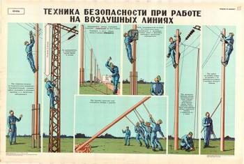 0019. Военный ретро плакат: Техника безопасности при работе на воздушных линиях
