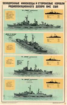 0115. Военный ретро плакат: Эскадренные миноносцы и сторожевые корабли радиолокационного дозора ВМФ США