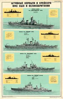 0118. Военный ретро плакат: Штабные корабли и крейсера ВМС США и Великобритании