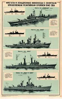 0119. Военный ретро плакат: Фрегаты и эскадренные миноносцы с зенитным управляемым реактивным оружием ВМФ США