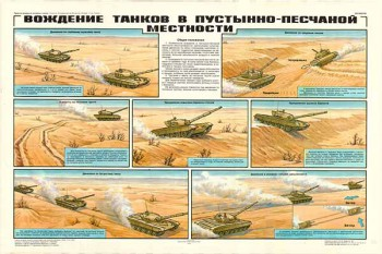 0134. Военный ретро плакат: Вождение танков в пустынно-песчаной местности