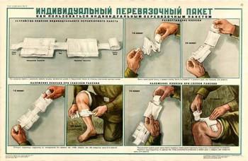 0163. Военный ретро плакат: Индивидуальный перевязочный пакет