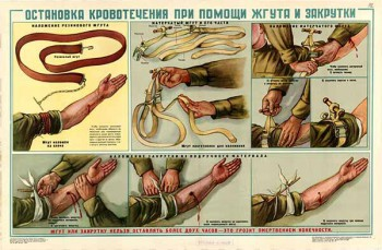 0165. Военный ретро плакат: Остановка кровотечения при помощи жгута и закрутки