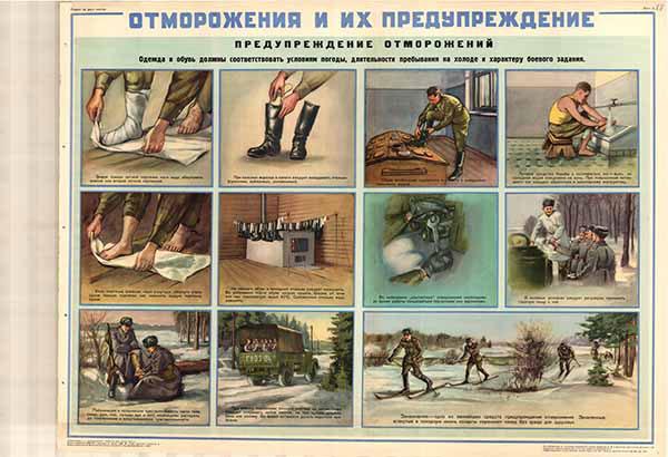 0166. Военный ретро плакат: Отморожения и их предупреждения