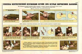 0189. Военный ретро плакат: Способы искусственной вентиляции легких при острых нарушениях дыхания