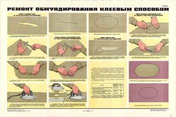 0195. Военный ретро плакат: Ремонт обмундирования клеевым способом
