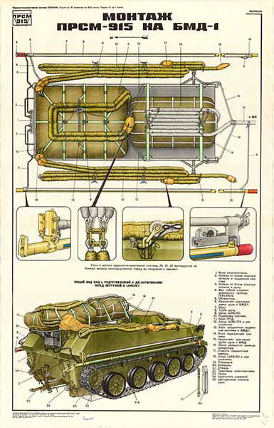 0222. Военный ретро плакат: Монтаж ПРСМ-915 на БДМ-1