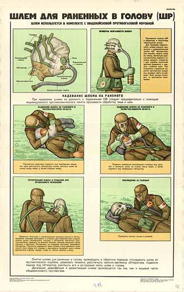 0234. Военный ретро плакат: Шлем для раненых в голову (ШР)