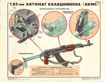 0265. Военный ретро плакат: 7,62-мм автомат Калашникова (АКМС)