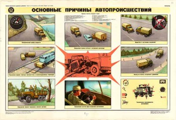 0763. Военный ретро плакат: Основные причины автопроисшествий