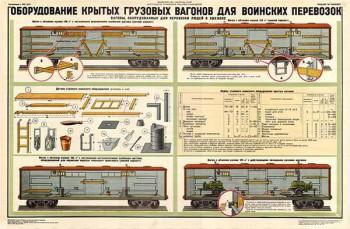 0276. Военный ретро плакат: Оборудование крытых грузовых вагонов для воинских перевозок