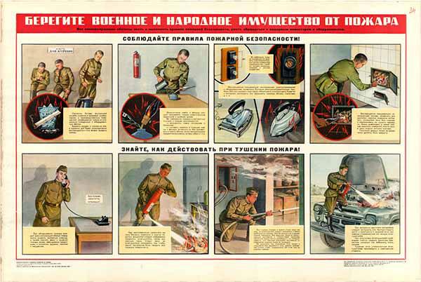 0280. Военный ретро плакат: Берегите военное и народное имущество от пожара