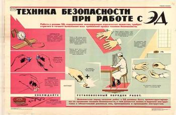 0433. Военный ретро плакат: Техника безопасности при работе с ЭД