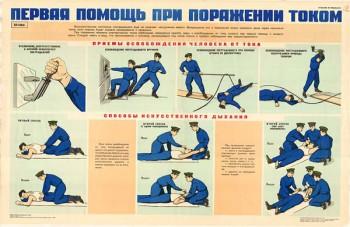 0288. Военный ретро плакат: Первая помощь при поражении током