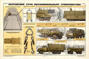 0290. Военный ретро плакат: Перевозка труб автомобильным транспортом