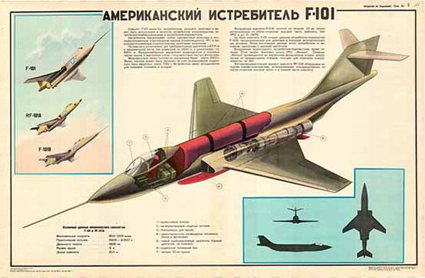 0361. Военный ретро плакат: Американский истребитель F-101