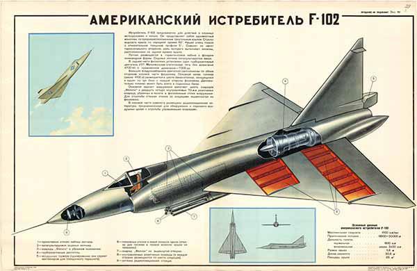 0362. Военный ретро плакат: Американский истребитель F-102